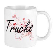 Trucks Artistic Design with Hearts Mugs