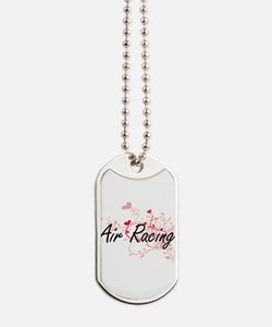 Air Racing Artistic Design with Hearts Dog Tags