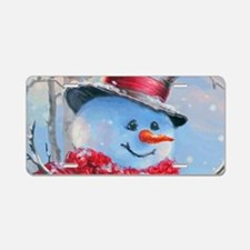 Snowman in the Woods Aluminum License Plate
