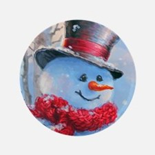 Snowman in the Woods Button