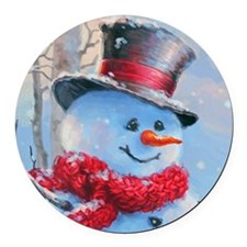 Snowman in the Woods Round Car Magnet