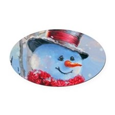 Snowman in the Woods Oval Car Magnet