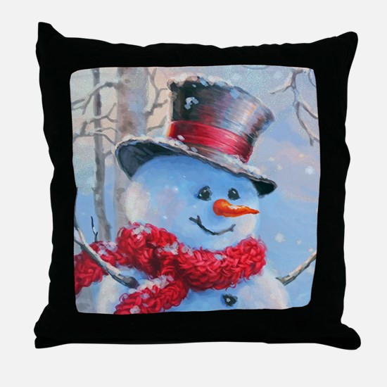 Snowman in the Woods Throw Pillow