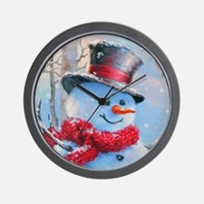 Snowman in the Woods Wall Clock