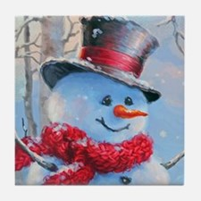 Snowman in the Woods Tile Coaster