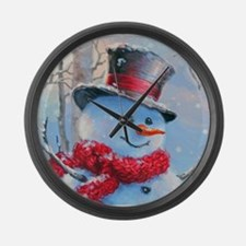 Snowman in the Woods Large Wall Clock