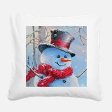 Snowman in the Woods Square Canvas Pillow