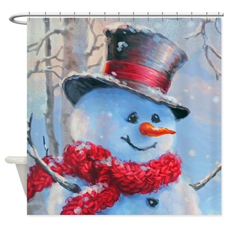 Snowman In The Woods Shower Curtain