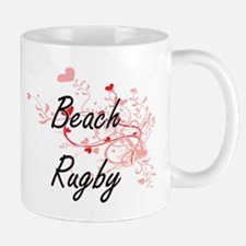Beach Rugby Artistic Design with Hearts Mugs