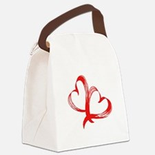 Double Heart Canvas Lunch Bag