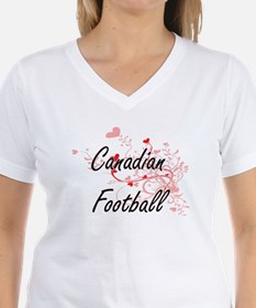 Canadian Football Artistic Design with Hea T-Shirt