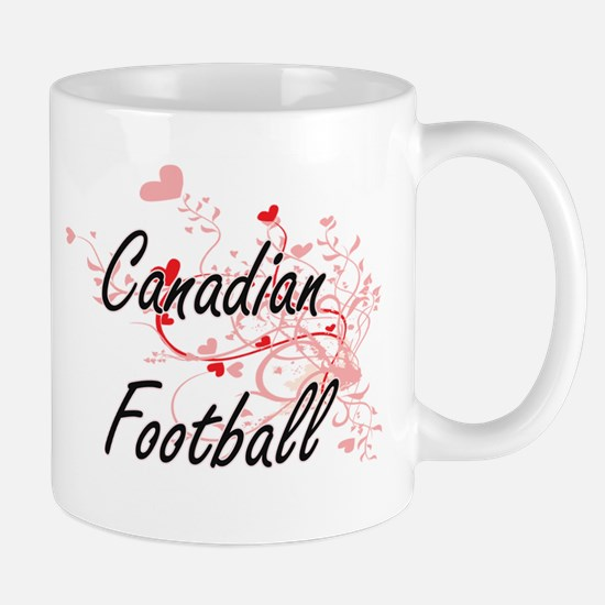 Canadian Football Artistic Design with Hearts Mugs