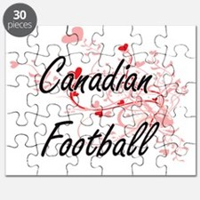 Canadian Football Artistic Design with Hear Puzzle
