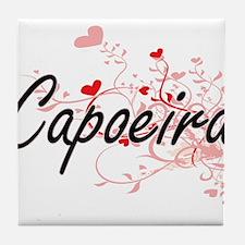 Capoeira Artistic Design with Hearts Tile Coaster