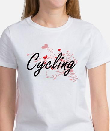 Cycling Artistic Design with Hearts T-Shirt