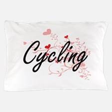 Cycling Artistic Design with Hearts Pillow Case