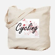 Cycling Artistic Design with Hearts Tote Bag