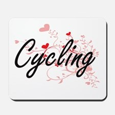 Cycling Artistic Design with Hearts Mousepad
