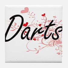 Darts Artistic Design with Hearts Tile Coaster