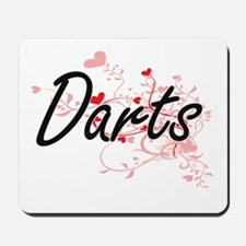 Darts Artistic Design with Hearts Mousepad