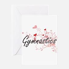 Gymnastics Artistic Design with Hea Greeting Cards