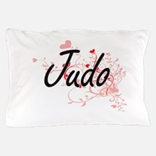 Judo Artistic Design with Hearts Pillow Case