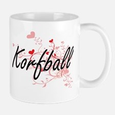 Korfball Artistic Design with Hearts Mugs