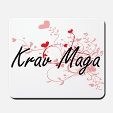 Krav Maga Artistic Design with Hearts Mousepad