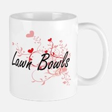 Lawn Bowls Artistic Design with Hearts Mugs