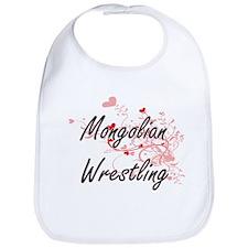 Mongolian Wrestling Artistic Design with Heart Bib