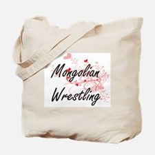 Mongolian Wrestling Artistic Design with Tote Bag