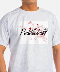 Paddleball Artistic Design with Hearts T-Shirt