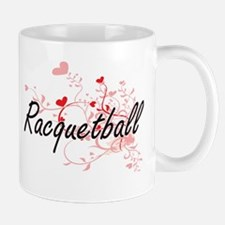 Racquetball Artistic Design with Hearts Mugs