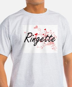 Ringette Artistic Design with Hearts T-Shirt