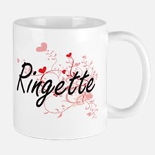 Ringette Artistic Design with Hearts Mugs