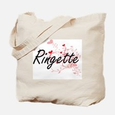 Ringette Artistic Design with Hearts Tote Bag