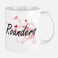 Rounders Artistic Design with Hearts Mugs