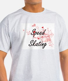 Speed Skating Artistic Design with Hearts T-Shirt