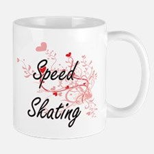 Speed Skating Artistic Design with Hearts Mugs