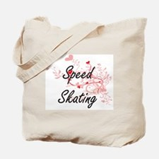 Speed Skating Artistic Design with Hearts Tote Bag