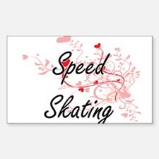 Speed Skating Artistic Design with Hearts Decal