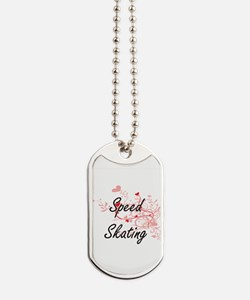 Speed Skating Artistic Design with Hearts Dog Tags