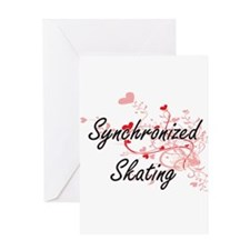 Synchronized Skating Artistic Desig Greeting Cards