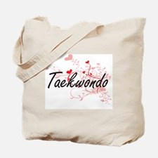 Taekwondo Artistic Design with Hearts Tote Bag
