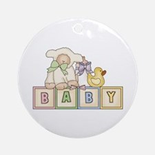 Baby Blocks Lamb Ornament (Round)