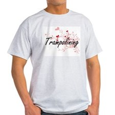 Trampolining Artistic Design with Hearts T-Shirt