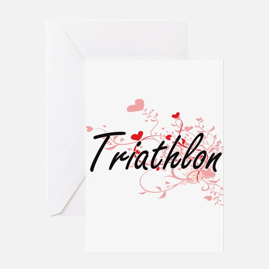 Triathlon Artistic Design with Hear Greeting Cards