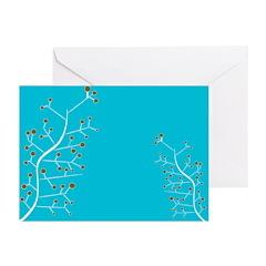 Contemporary Retro Floral Greeting Cards (Pk of 20