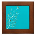 Contemporary Retro Floral Framed Tile
