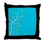 Contemporary Retro Floral Throw Pillow